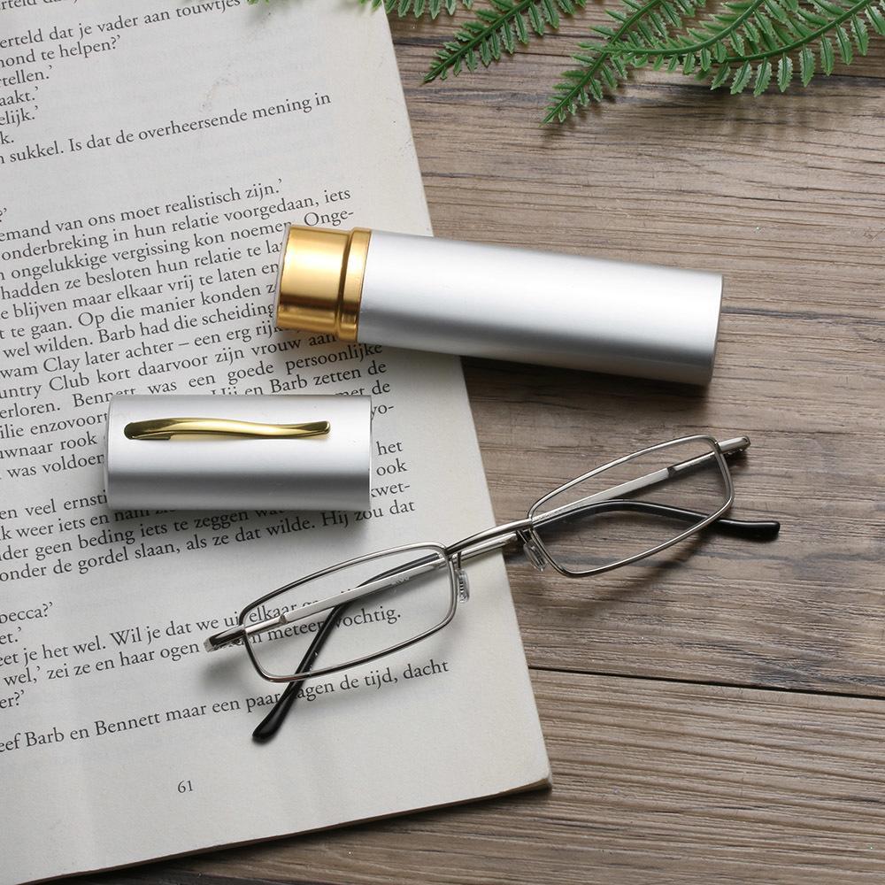 1 stück frauen männerlese gläser edelstahl rohre koffer harz brillen frame eyewear metall scharniersichtpflege ältere glas
