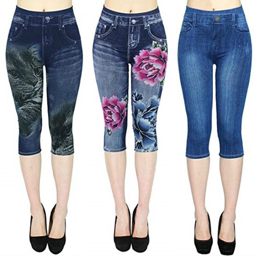 Femmes Taille Plus leggings imitation pantacourt 2019 New Mock Pantalons Pocket Slim jeggings Denim Skinny