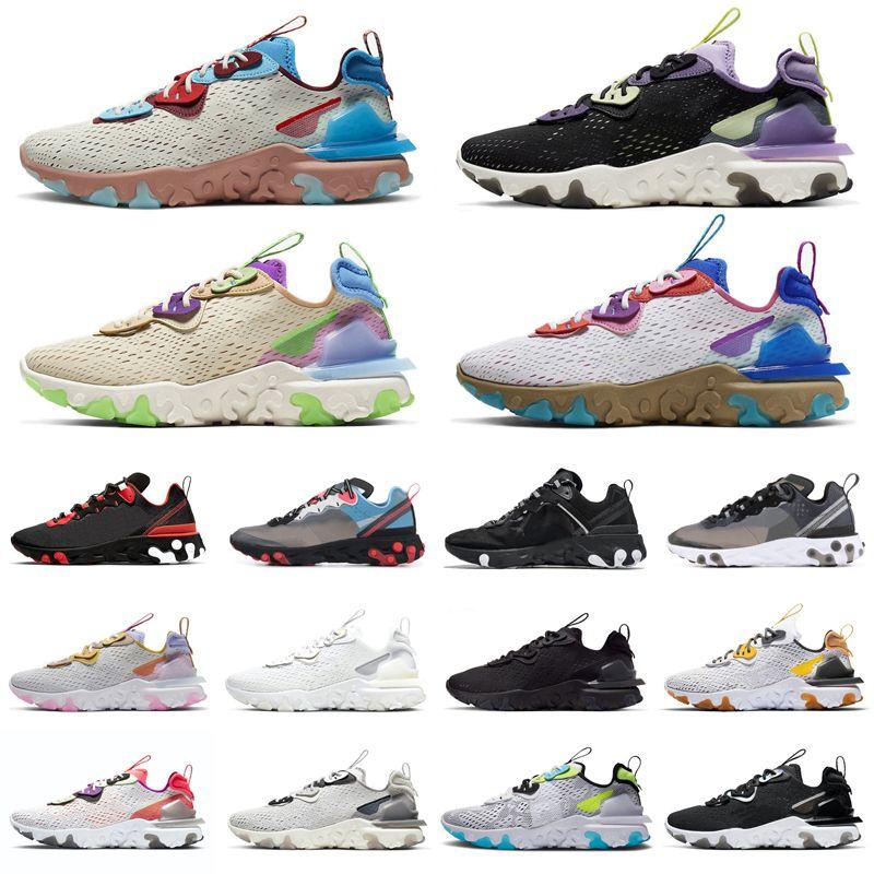حذاء رياضي ري أكت فيجن ريكت إليمينت 87 55 للجري في جميع أنحاء العالم ثلاثي أبيض أسود قزحي الألوان تخطيطي ولدت أحذية رياضية رياضية للرجال والنساء