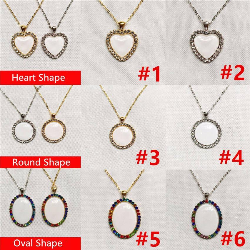 Sublimation Halskette Sublimationsrohling Kristall Halskette Anpassen Valentinstag Geschenk Aluminiumlegierung Herzform Halskette Freies Verschiffen A02