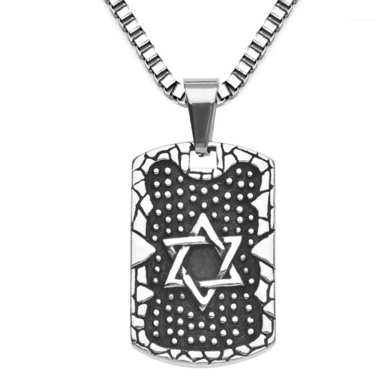 Stainless Steel Star Of David Necklace For Men Vintage Israel Dog Tag Pendant Necklace Amulet Jewish Jewelry1