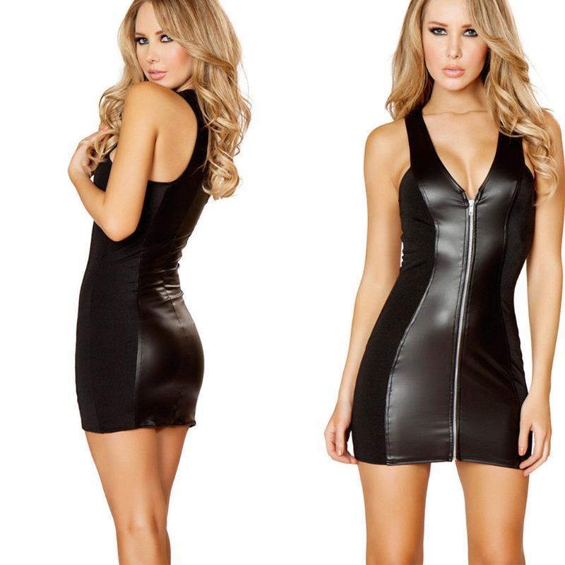 Повседневные платья сексуальные женщины искусственные кожаные мини-платье ночной клуб без рукавов мол ZIP передний тонкий карандаш женский черный вечеринка клубная одежда