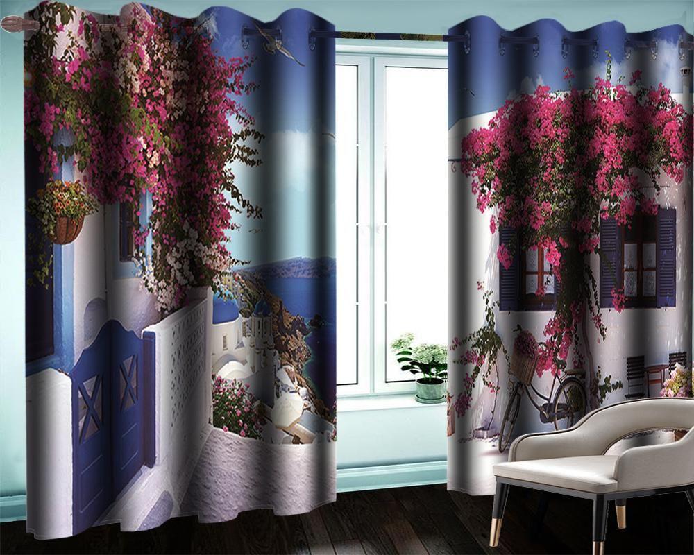 Venta de la cortina moderna 3D Hermosa villa por la casa de la playa Casa romántica paisaje moderno decoración moderna 3d cortinas apagones