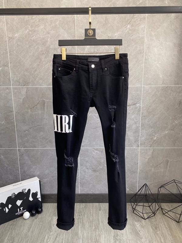 Новый дизайн мужские разорванный байкер джинсы новых поступлений зимний толстый стиль тонкий подходящий мотоцикл байкер джинсовые мужские модные дизайнерские брюки нас размер