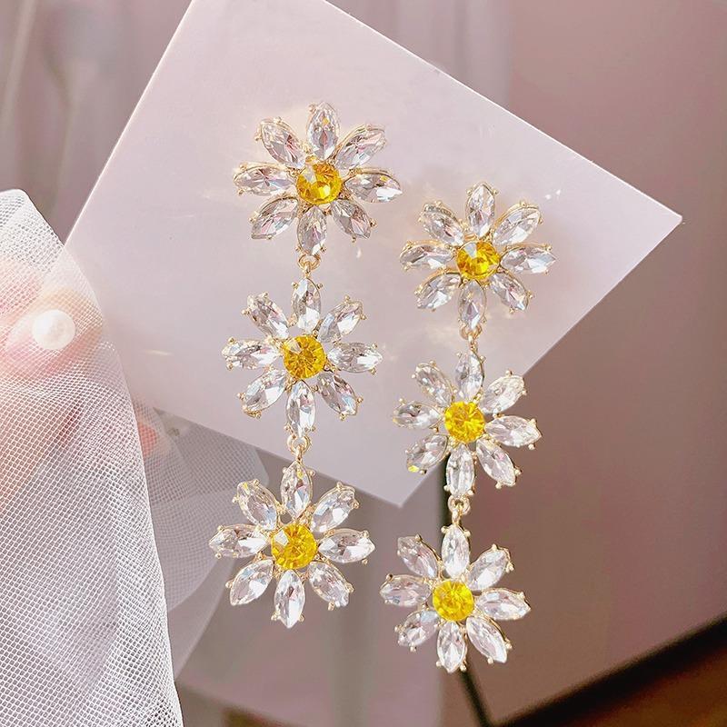 Coréen élégant cristal jaune Fleur Pétale Tassel Boucles d'oreilles pour les femmes étudiants Fashion Party Pendientes Bijoux