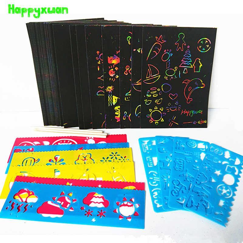 HappyXUAN 50 Levhalar Sihirli Renk Gökkuşağı Kazı Kağıt Kartı Set Grafiti Stencil Çizim için DIY Sanat Boyama Oyuncak Çocuklar LJ200922