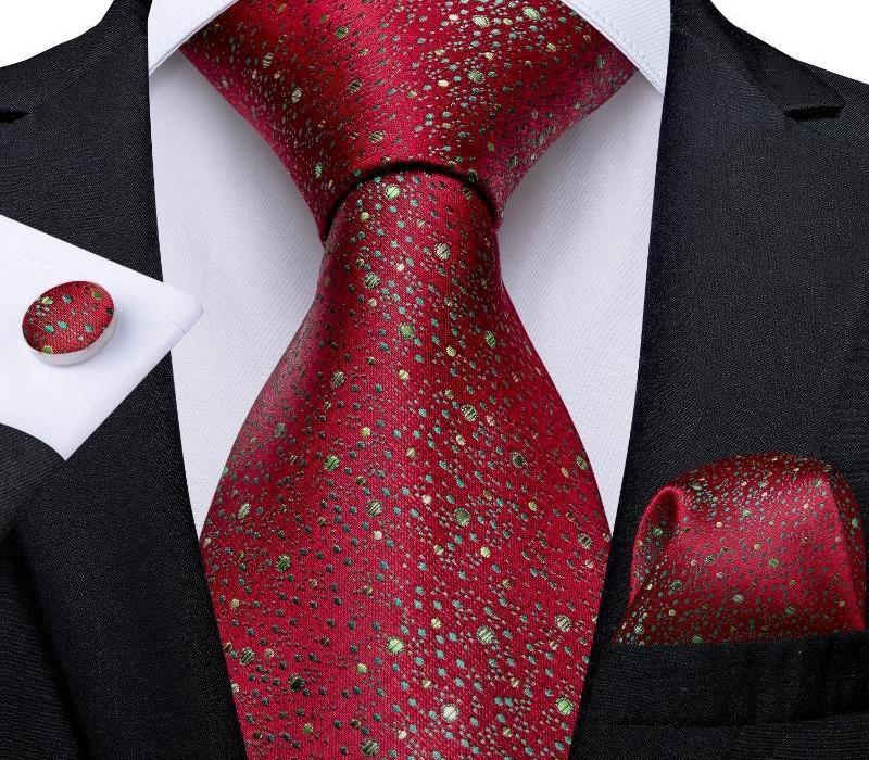Seda de lujo de los hombres de corbata tejida de 8 cm Verde Splash Red Dot corbata Hanky gemelos conjunto de boda para hombre de negocios Accesorios Gift44