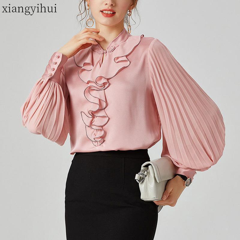 Rosa lanterna luva de seda Blusa Feminino Mulheres Moda Outono solto shirt Office Work Senhoras Casual Fique Collar White Shirts