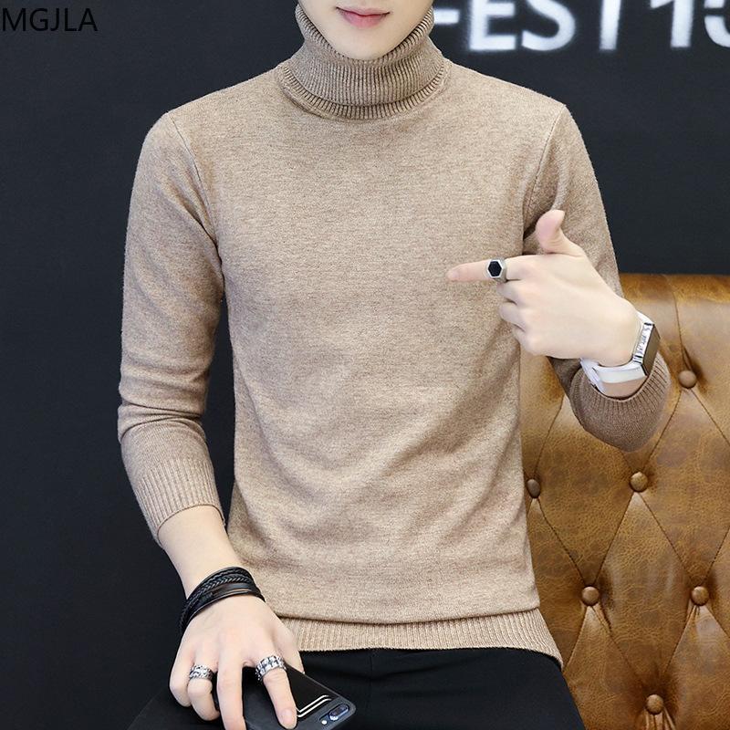 겨울 2020 남성의 하이 넥 스웨터 캐주얼 솔리드 컬러 슬림 피트 남성 T 셔츠 청소년 높은 칼라 스웨터 스웨터 남성