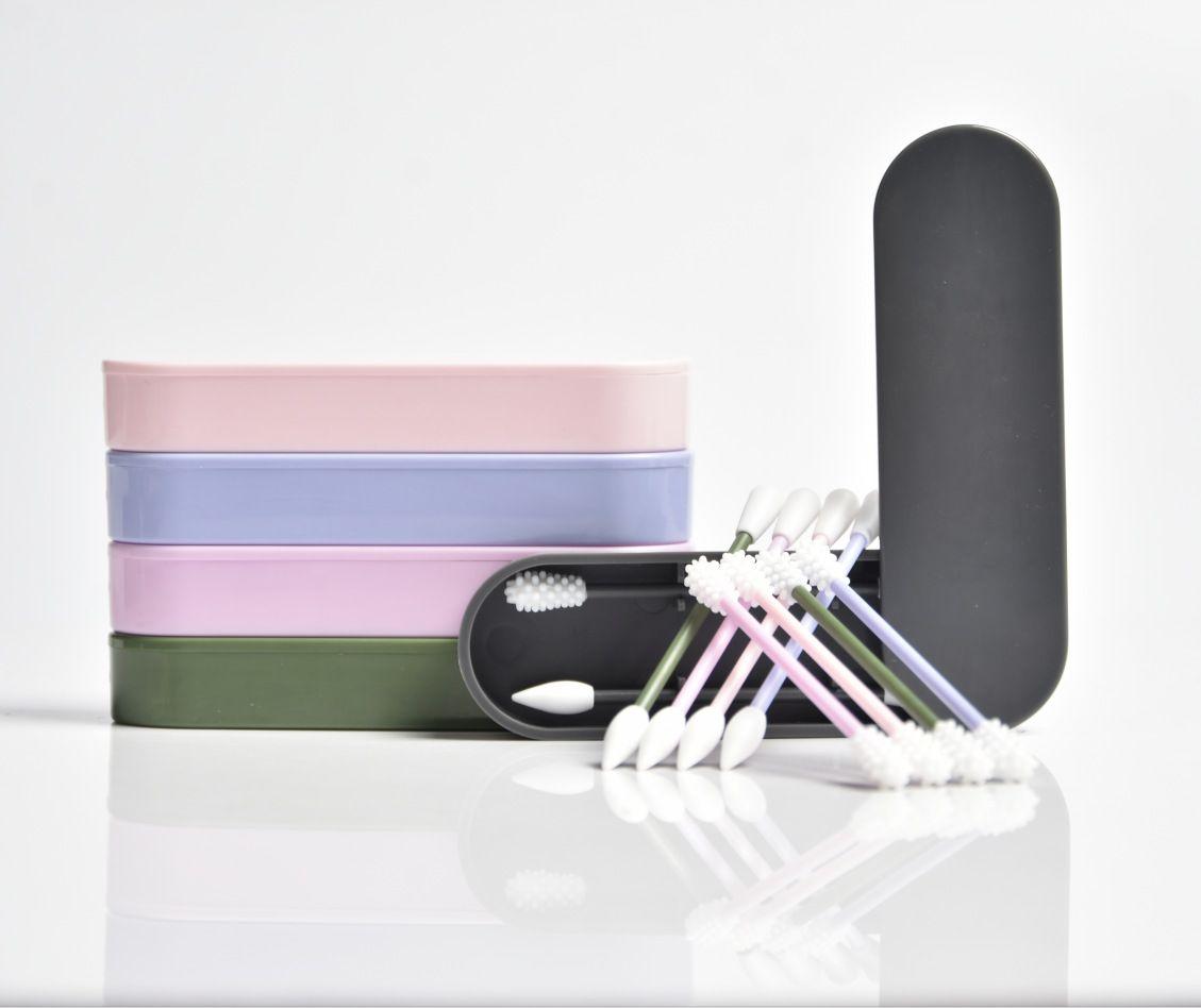 2 шт. Lastswab Многоразовые хлопчатобумажные чашки для уборки ухо CoSmetic силиконовые бутоны палочки с коробкой для очистки макияжа и прикосновения GH462