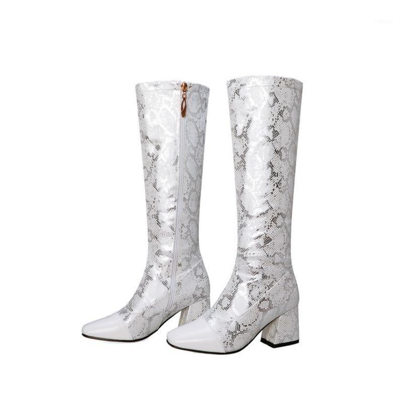 BLXQPYT Neue Winter Herbst Frauen Stiefel 2020 Große Größe 32-48 Knie Hohe Stiefel ZIP High Heels Plattform Qualität Schuhe Frau H21