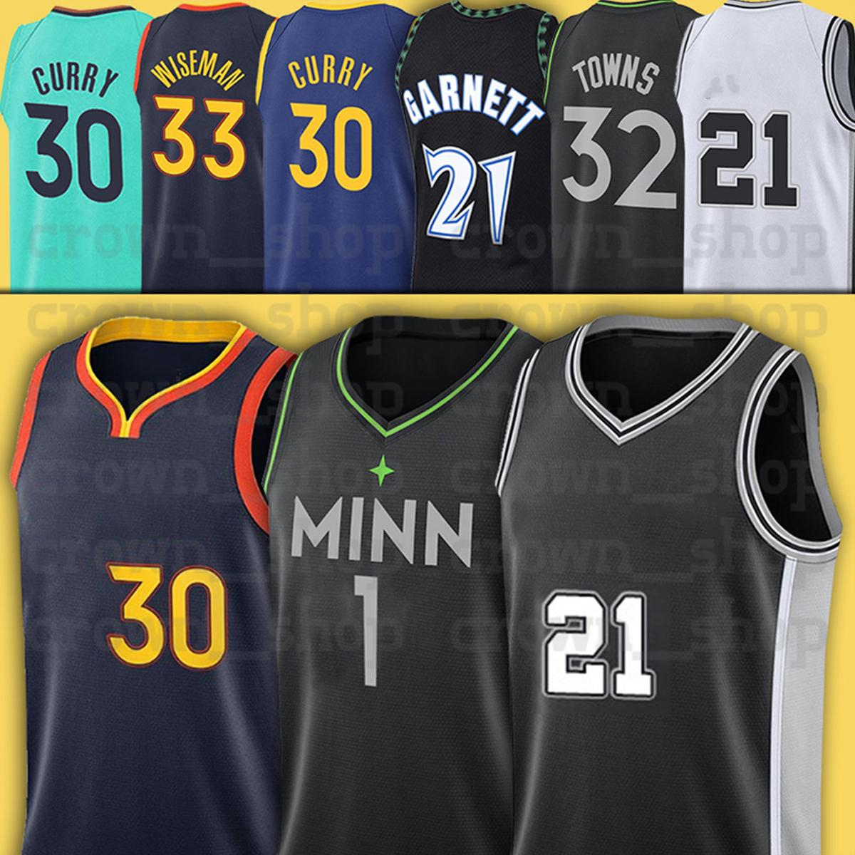 Curry 33 Wiseman 30 Stephen 1 Edwards Kevin 5 Garnett Karl-Anthony 32 Cidades 2021 City Basketball Jerseys