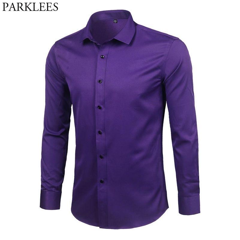 Фиолетовый мужской бамбуковый волокна платья рубашка новый тонкий подходит с длинным рукавом Homme не железо легкий уход Формальная рубашка для мужчин LJ200925