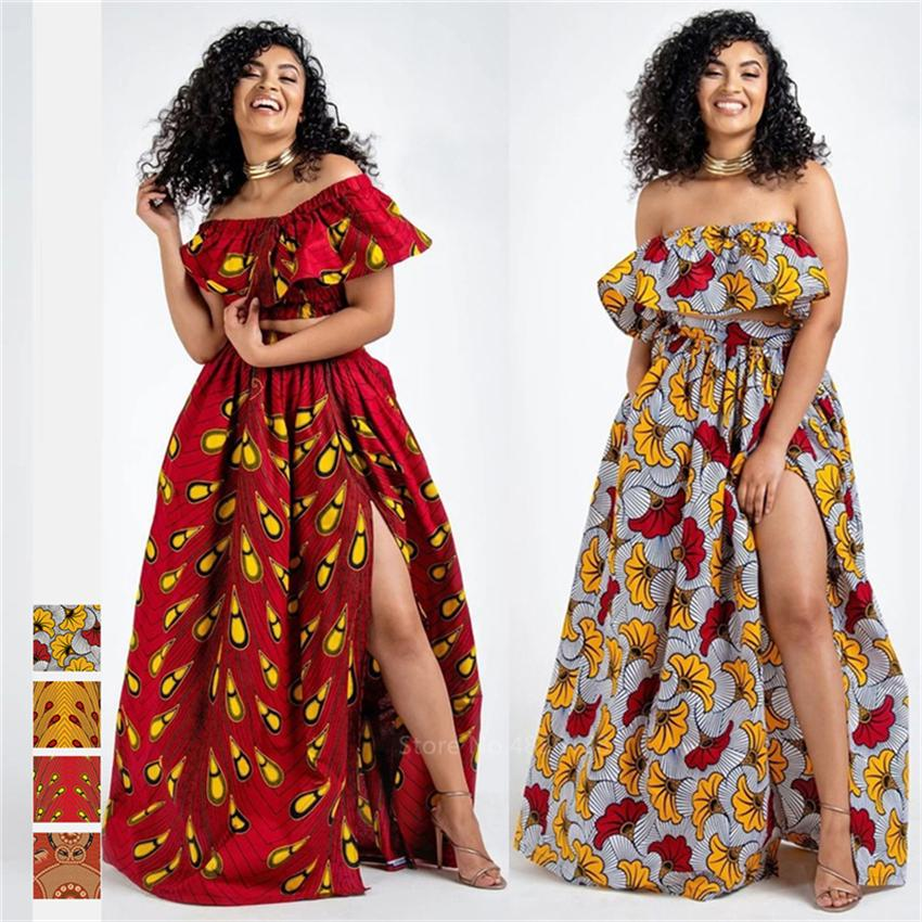 2020 Actualités Ankara Style African Vêtements Dashiki Print Top Jupes De Mode Fête Feather Robes Africaine Pour Femmes Robe Africaine LJ200826