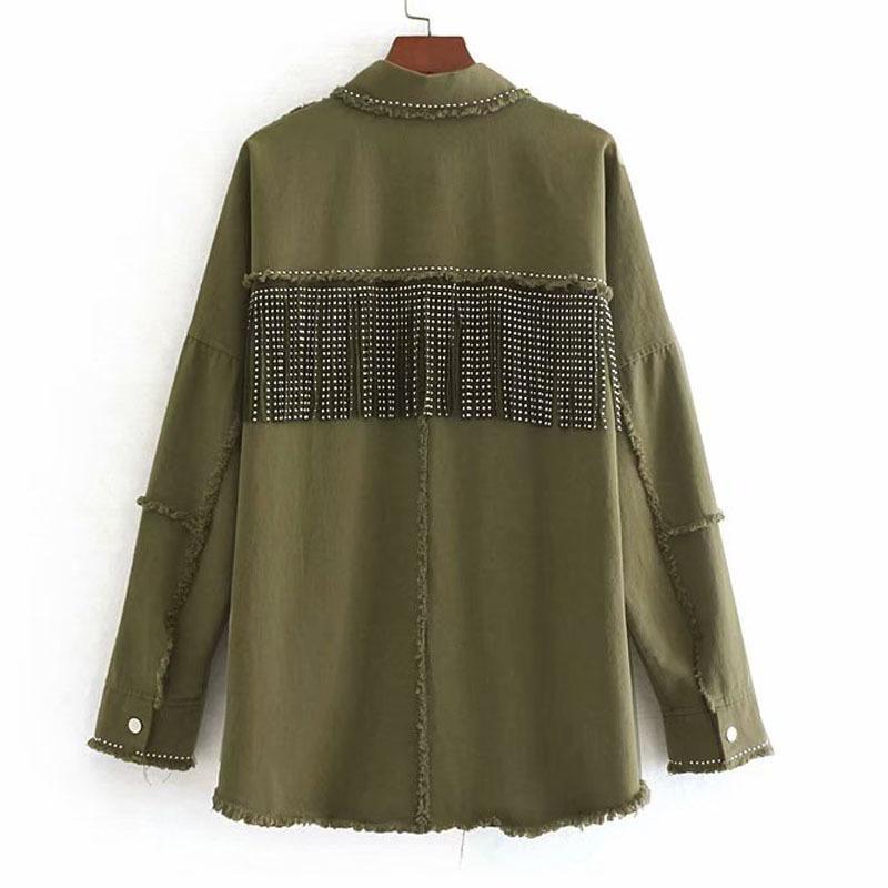 Army Green Revers Stilvolle Übergroße Perlen Dekorieren Denim Frauenjacke Quaste Langarm Mantel Weibliche Outwear Lose Tops Black 201103