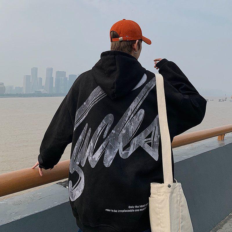 2021 NOUVEAU LOITINKIker Homme Capuche Épaissir Winter Nouvelle Terre Sweatshirts Pull-shirt Coréen Streetwear Imprimer Sweat à capuche chaude Beqo