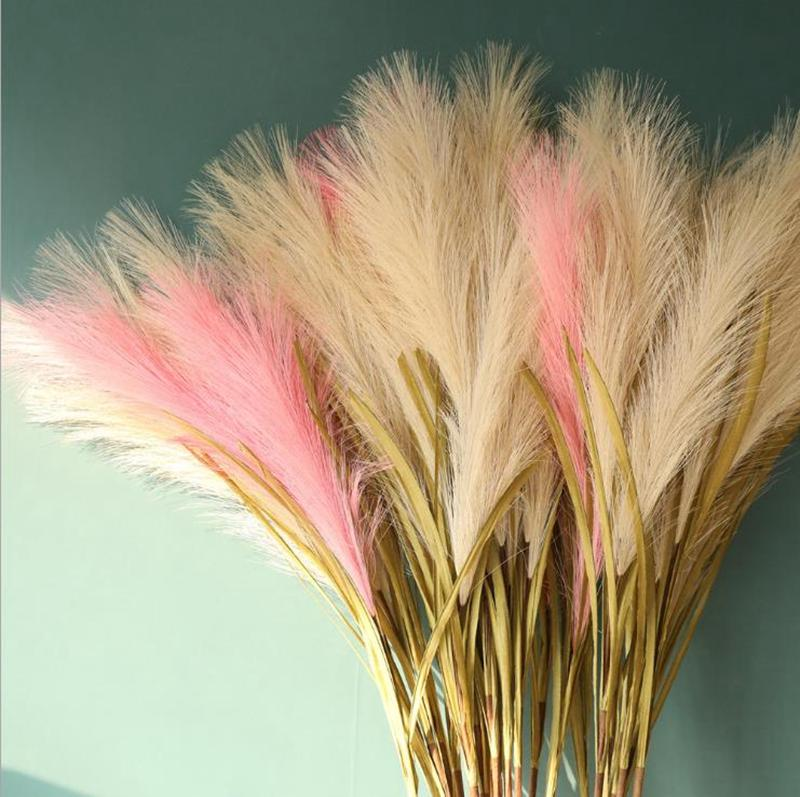 Plantas de flor de seda selvagem Reed Filial Phragmites artificiais casamento decoração Home Decor fornecimento grossista Sobre 100 centímetros 6 Designs BT696