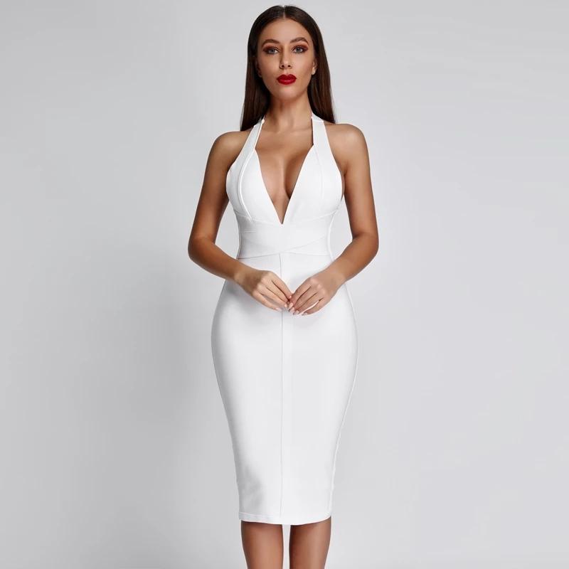 2020 Летняя бинты платье партии Sexy Белый Bodycon платье бинты клуб Midi Backless платье повязки Черный Красный
