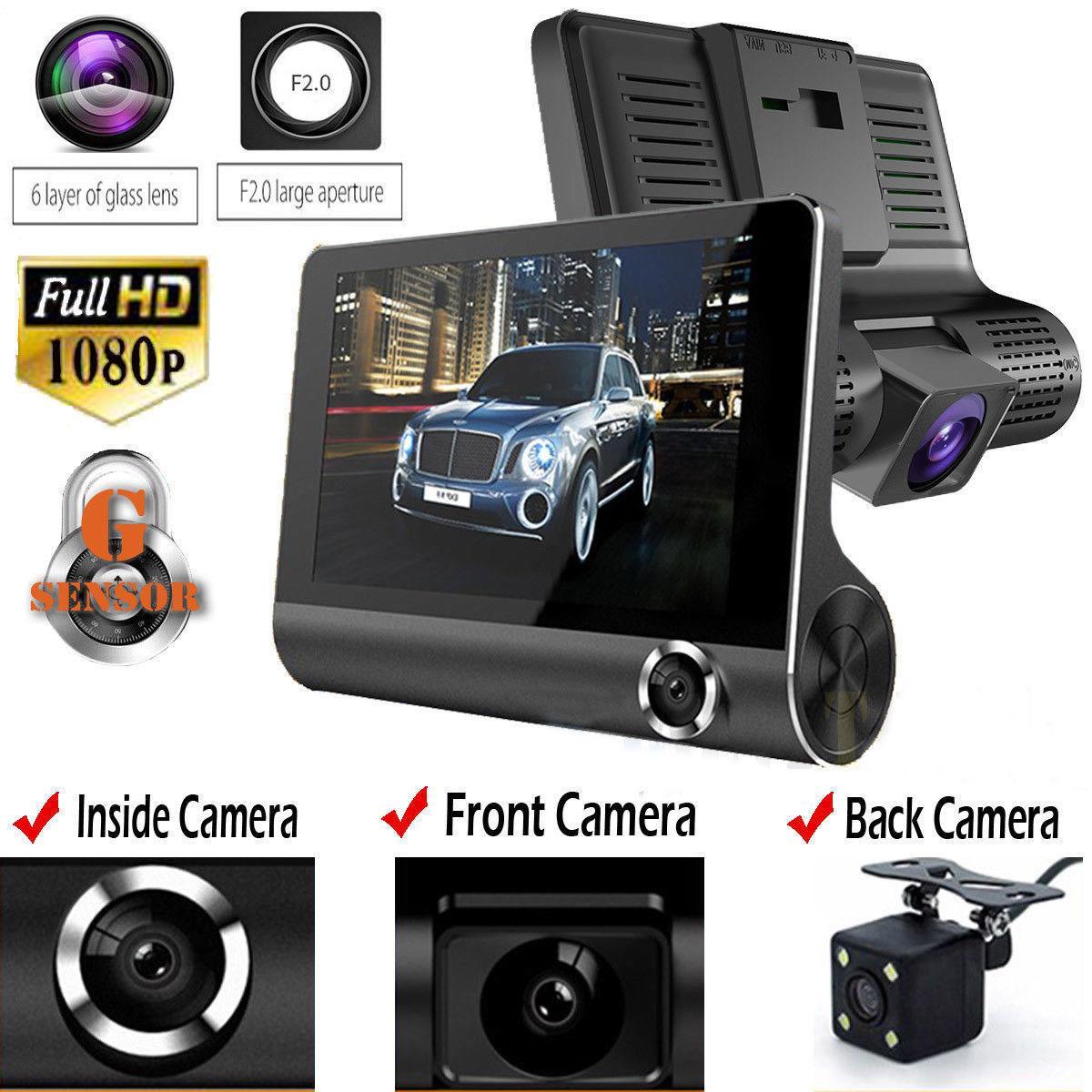 2020 الأصلي 4  سيارة dvr كاميرا فيديو مسجل الرؤية الخلفية السيارات المسجل إيث اثنين من كاميرات داش كام dvrs عدسة مزدوجة وصول جديد