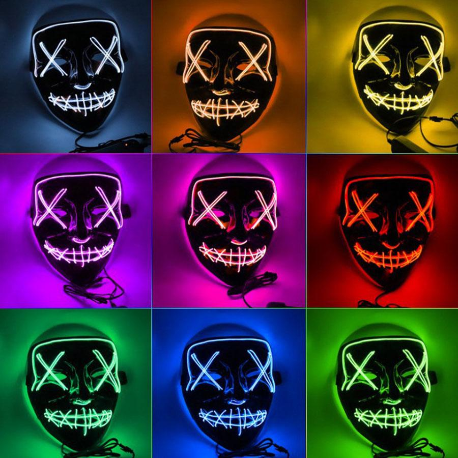Halloween Horror маски LED Светящиеся маски Purge Маски Выборы Тушь Костюм DJ Party Light Up Маски Glow В темные 10 цветов Бесплатная доставка