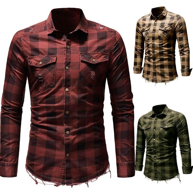 de 2020 blusa camisa dos homens Slim Fit Botão Camisa Xadrez com bolso Top manga comprida Blusa Roupa artigo Camisas para hombre