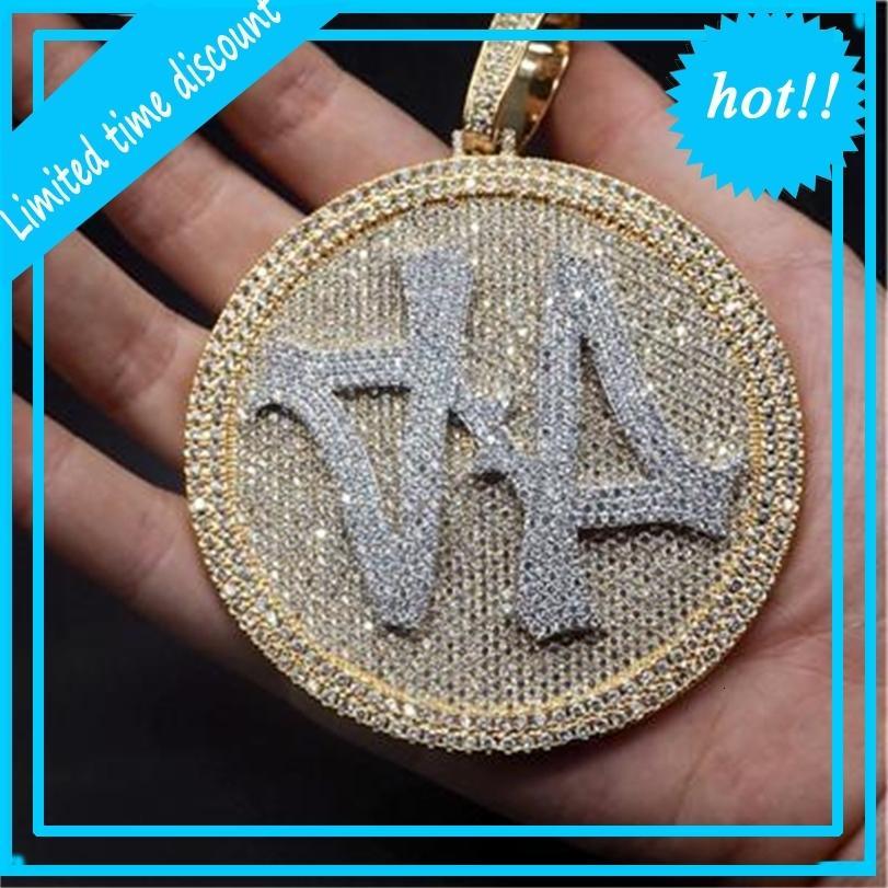 Buzlu Out Numarası 44 Büyük Boy Elmas Yuvarlak Kolye Kolye 18 K Altın Kaplama Erkek Hiphop Bling Takı Hediye