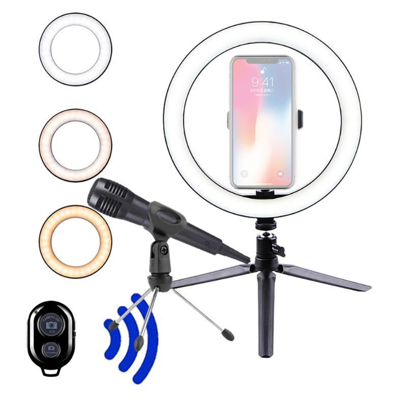 Microphone 26CM Photography Lighting Ringlight Tripod Stand Photo Led Selfie Bluetooth remote Ring Light Phone Lamp Live