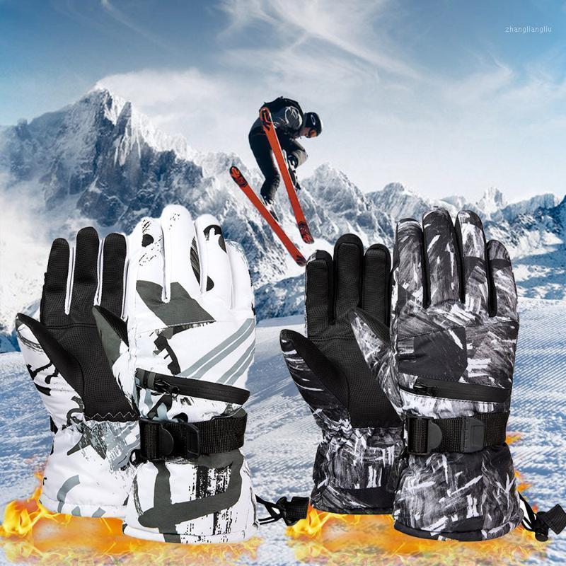 Guante de esquí térmico Hombres Mujeres Invierno A prueba de viento Snowboard Snow Gloves 3 dedos Pantalla táctil para esquiar Equitación1