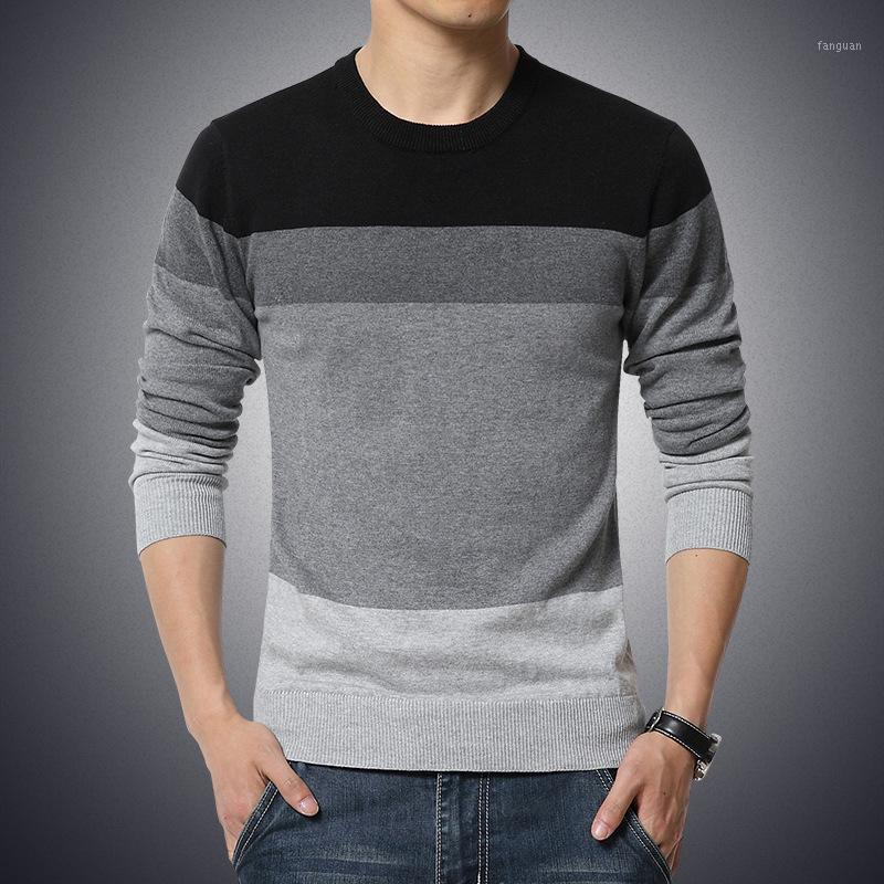 Camisola masculina casual O-pescoço listrado Slim Fit Knittwear 2020 Outono Mens Suéteres Pulôver Pullover Homens Puxe Homme M-3XL1