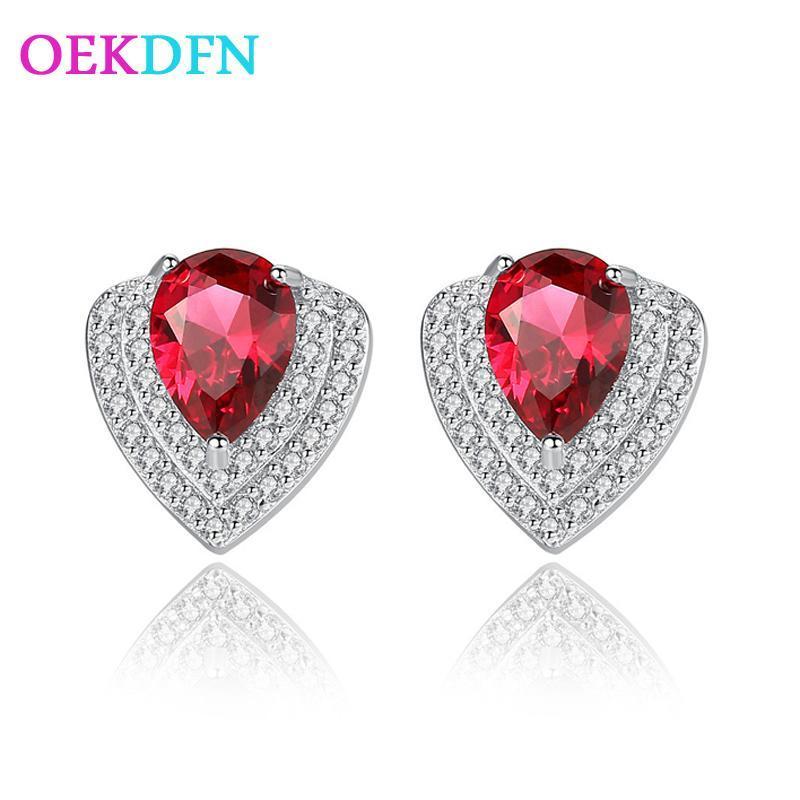 Oekdfn vintage 100% 925 sterling silber ohrringe wassertropfen saphir rubin edelstein diamanten ohrstecker ohrringe feinschmuck