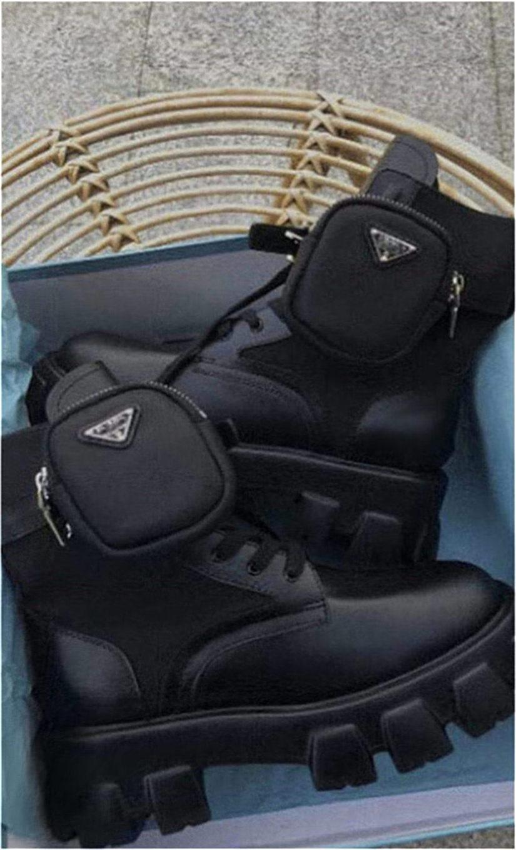 Las mujeres Mate cuero auténtico tanque de la plataforma de moldeo últimos zapatos casuales Bolsa Botas Top pulso triple Martin Botas Tamaño 35-41 Hn39