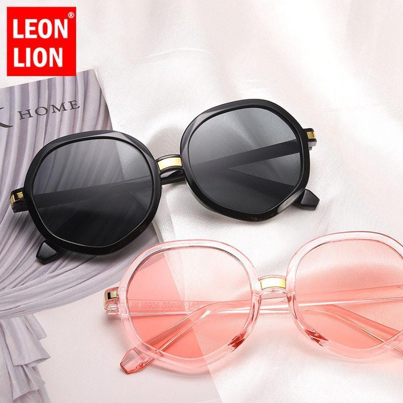 LeonLion óculos de sol redondos Mulheres Gradient Vintage espelho reflector Vidros Para mulheres retro Polígono Sunglasses
