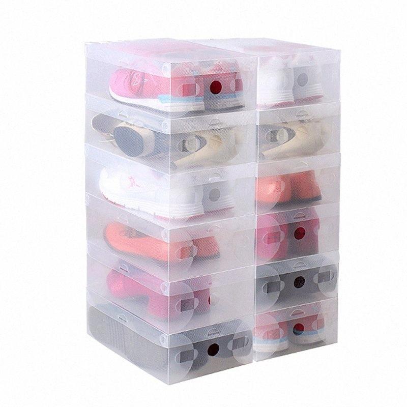10pcs en 1 zapatos de alta calidad Claro plegable de plástico cajas de almacenaje de casos apilable Organizador Titular de la zapata Qiq4 #