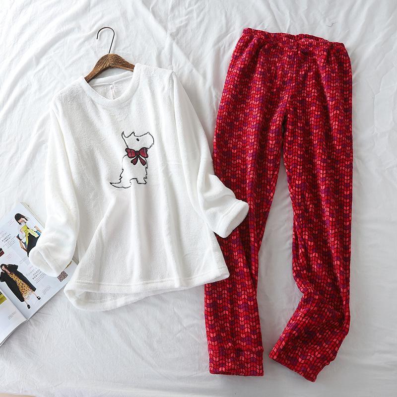 Новый Coral Velvet Super Soft Вышитая собака Pijamas Зимний Рукав Пижама для Женщин Мультфильм Флис Пижама Теплые Соли T200110