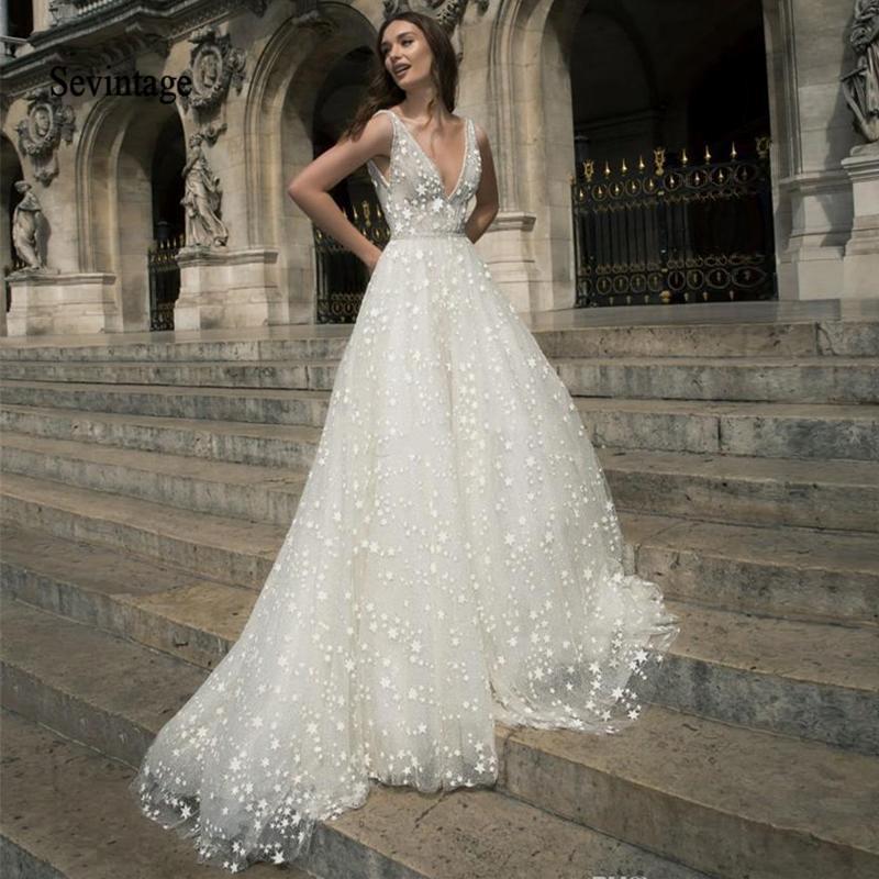 Sevintage A Linha Boho Vestidos V Neck Backless Estrelas Tulle do casamento de praia Vestidos Princesa vestido de noiva veste Q1113 de mariee
