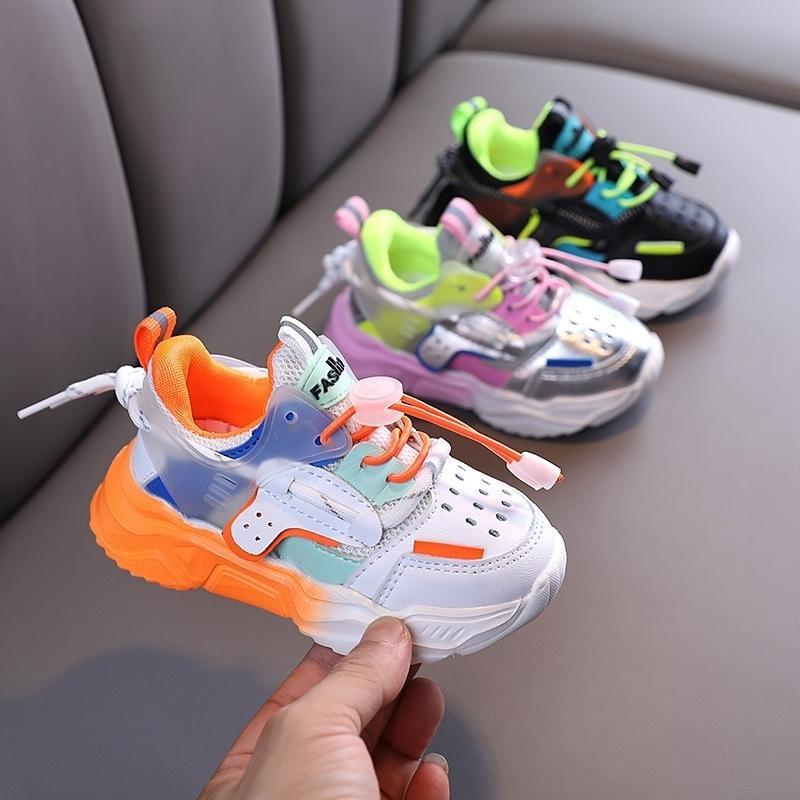 Осень Мальчики для девочек Повседневная Обувь Мягкие Нижние Нескользящие Дышащие на открытом воздухе Детские Кроссовки Детские Спортивные Обувь 201130