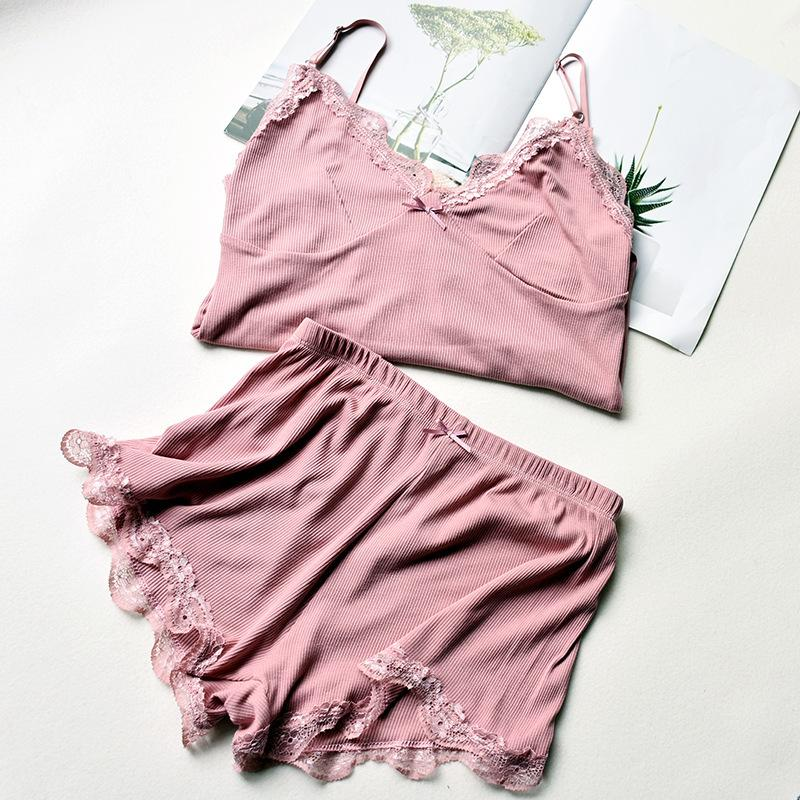 Meninas New Style Summer Night Define Mulheres Pijamas Moda Lace Elastic confortável Sexy Camis e Shorts Set