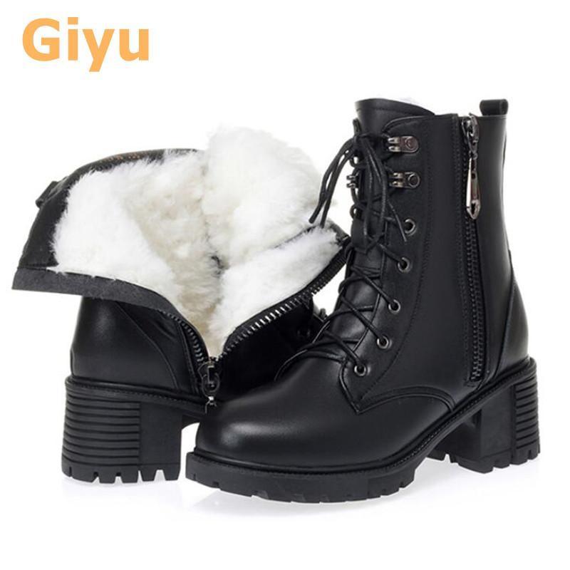 Giyu Inverno Curto Tubo Feminino Botas Botas Algodão Plus Cashmere Lã Genuine Leather Grande Tamanho