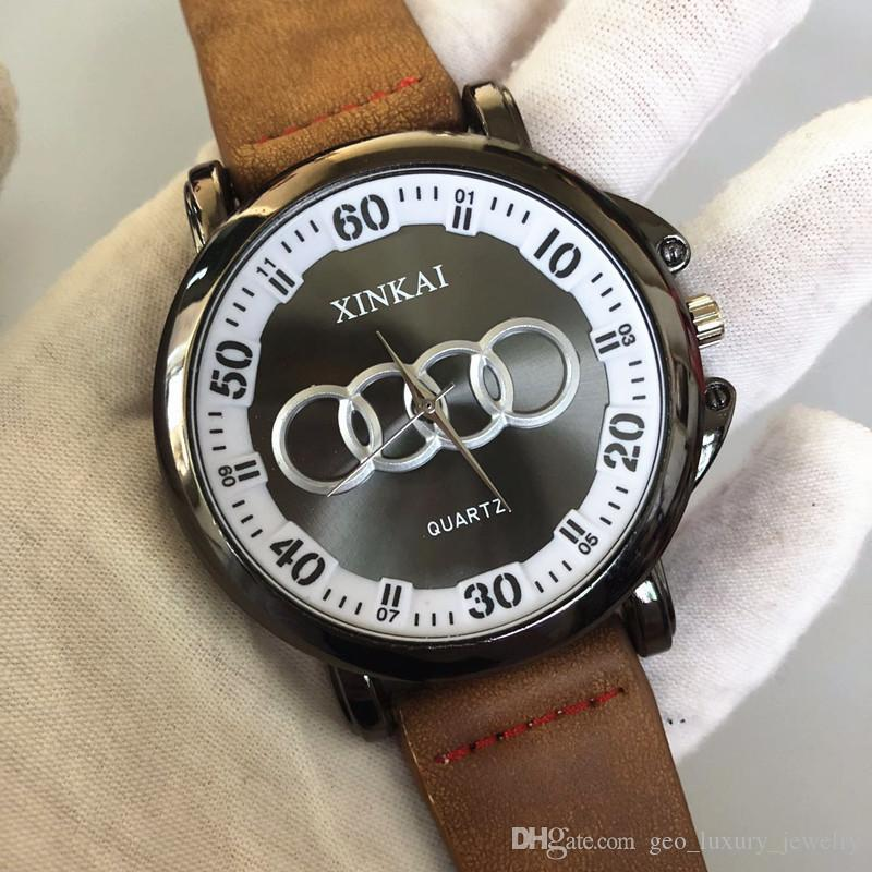 Assista dos homens casuais nova tendência de carro literal relógio de cinto de quartzo