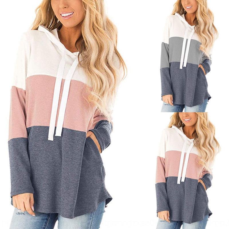 autunno 2020 delle donne moda casual e l'inverno tre colori splicing incappucciati maglietta maglione contrasto tasca maniche lunghe con cappuccio maglione T-shirt