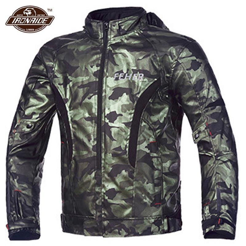 Camouflage veste moto Motocross Veste imperméable coupe-vent vélo d'hiver Protection S-4XL Pour 4 Saison