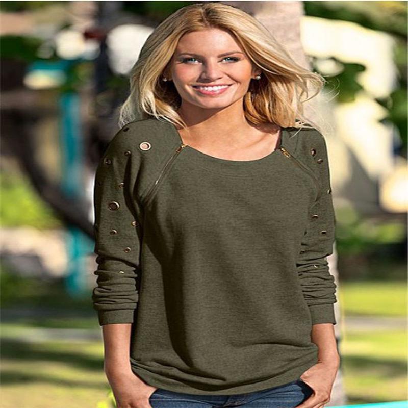 Furos sexy O-pescoço camisa mulheres 2017 outono casual manga longa rasgada camisa de malha 3solid cores