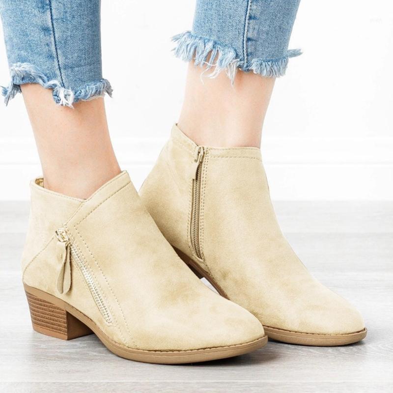 Ботинки осень зима женщин сплошные европейские женские туфли замшевые кожаные лодыжки с толстым скраб размером 35-431
