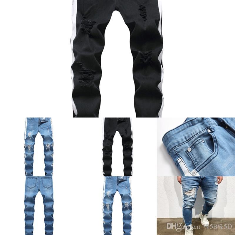 Hoh7 Herren Jean Jeans Hip Hop Rock Männer Hosen Kleidung Winter Homme Beunruhigte Marke Denim Biker USA Riss Jeans