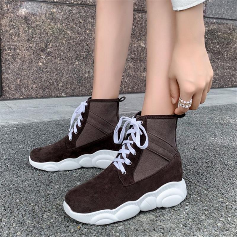 PXELENA Hot Faux Suede Mujeres Botas de tobillo Plataforma plana Enredaderas Lace Up Soft Confort Zapatillas 2020 Otoño Invierno más Tamaño1