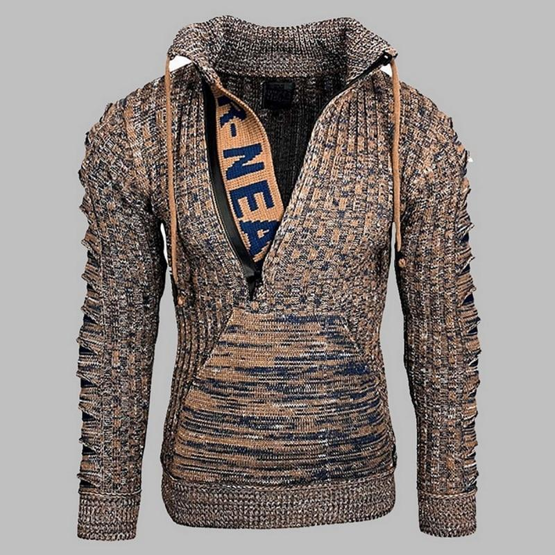 Autumn winter 2020 men's fashion long-sleeved lapel knitwear loose-fitting ply-size pullover sweater jacket to keep warm street
