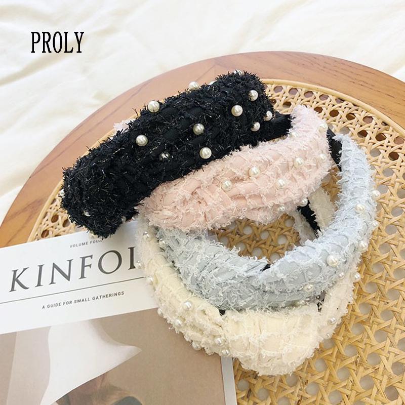 Turban PROLY New Moda feminina Headband Outono Pérola Plush Hairband macio fresco Adulto Médio Knot Acessórios Headwear cabelo