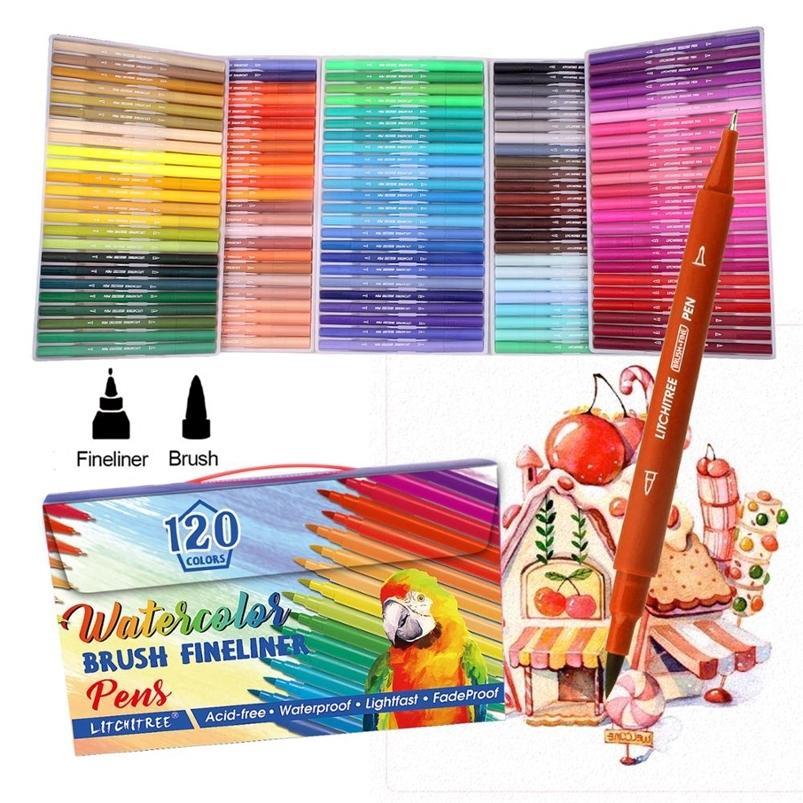 120 colores DUAL marcadores pinceles pinceles coloreado punto fino pluma conjunto para letras escribiendo dibujo para colorear 201222