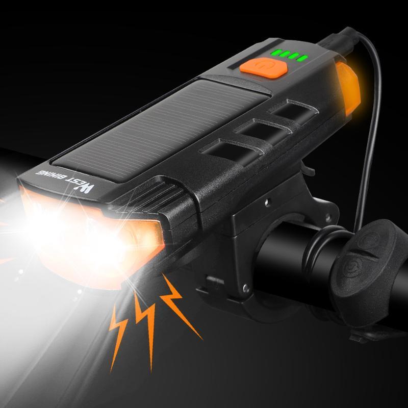 Westbike Solar Power Fahrradlicht USB wiederaufladbare LED Radfahrenscheinwerfer Wasserdichte Bike Horn Warnlampe