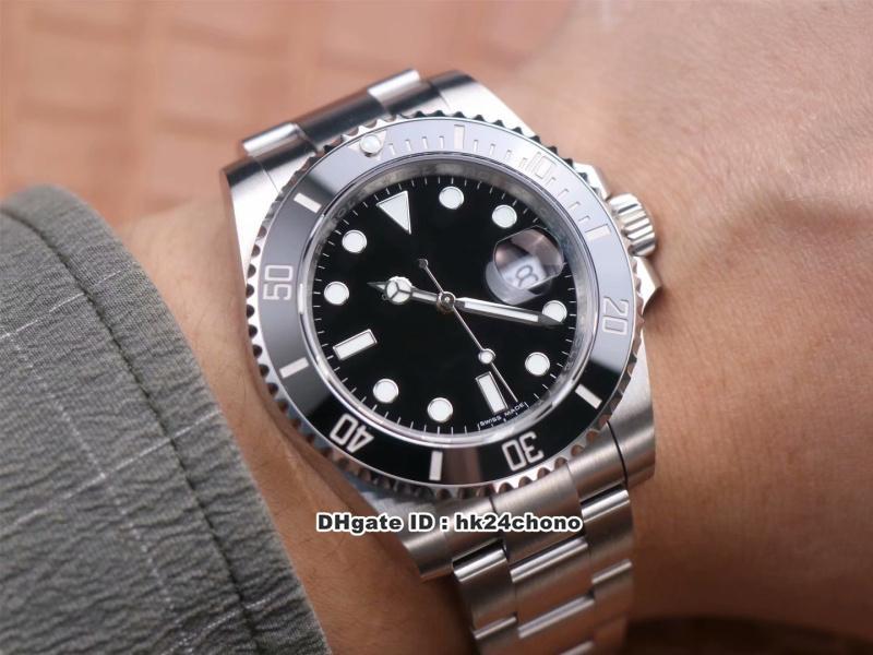 2020 New Super N V11 Fecha CAL.3135 reloj automático para hombre del zafiro de cerámica Bisel Negro Dial pulsera de acero inoxidable 904L relojes para caballero